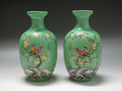 China Famille Rose Porcelain Two vases painted Flower Bird verse Have mark T0136