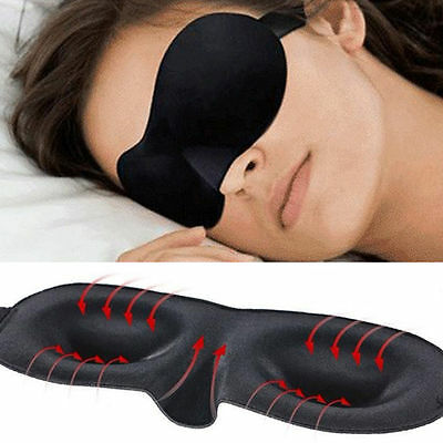 3D Soft Padded Travel Eye Mask Rest Sleep Shade Cover Sleeping Blindfold Black