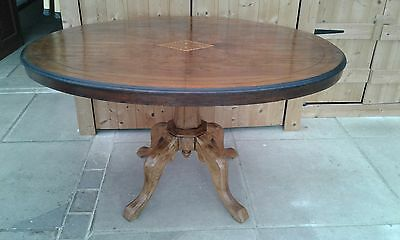 Antique Tilt Top Table Solid Walnut Veneer And Inlaid Top Box Wood Stringing
