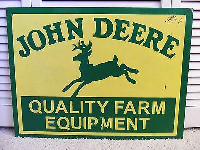 Vintage Sign John Deere Metal Farm Equipment Tractor Garage Gas Station Barn