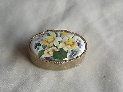 Vintage Goldtone And Ceramic Daffodil Floral Insert Pill Box