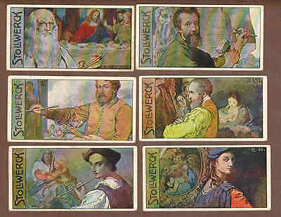 FAMOUS ARTISTS: Set of Scarce German STOLLWERCK Chocolate Cards (1908)M