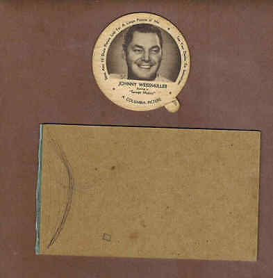 JOHNNY WEISSMULLER:  Scarce CANADIAN Royal Ice Cream DIXIE LID  (1953)