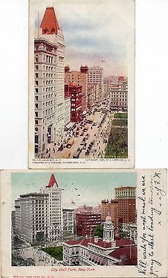 2 Old Postcards Park Row New York United States Posted 1905
