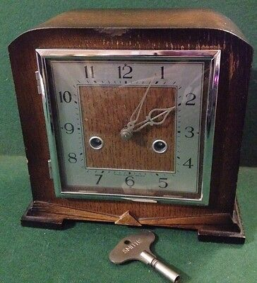 Art Deco 'smiths Enfield' Chiming Mantel Clock - Original Key Weight & Movement