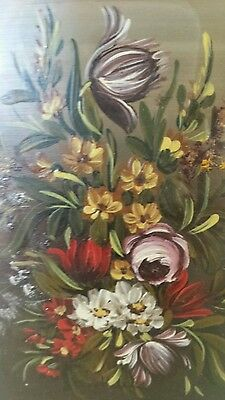 A miniature still life oil painting of flowers signed S.Keller