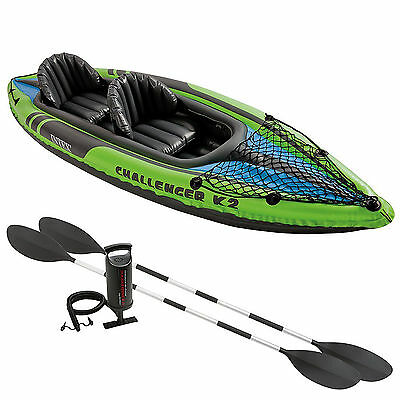 Intex K2 Challenger Kayak Two Man Inflatable Canoe + Oars and Pump #68306