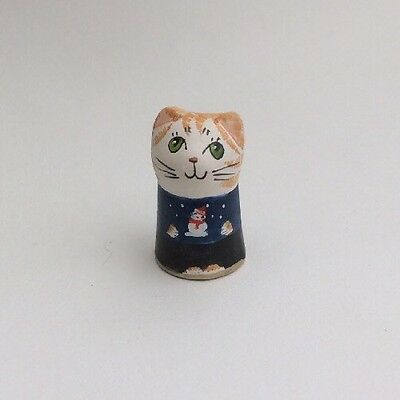 MERRYFIELD POTTERY-Hand Painted Thimble With Christmas Jumper on