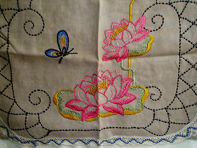 Vintage Pillow Cover Butterfly Lilypads Lace Brown 21 x 15 3/4