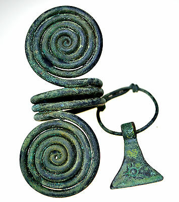 Viking Bronze Axe Shaped Pendant and Viking Bronze Spiral Ring Set
