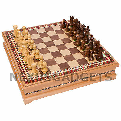 Chess Board Game Set Wood Large Lift Up Storage PIECES MADE IN INDIA 15 Inch NEW