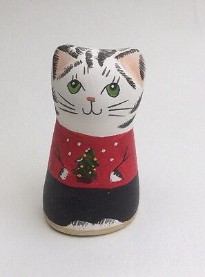 MERRYFIELD POTTERY-Hand Painted  Christmas Cat Candle Snuffer