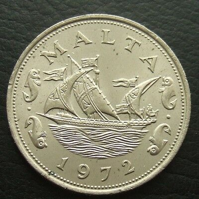 MALTA 10 CENTS 1972 : BOAT BETWEEN TWO FISH  ...t61