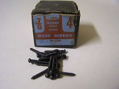 "#4 x 7/8"" Round Head Blued Wood Screws Slotted Vintage Made in USA Qty 125"