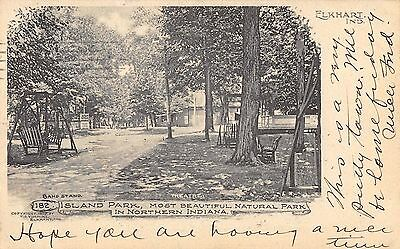 Elkhart Indiana 1905 Postcard Island Park Theatre and Band Stand
