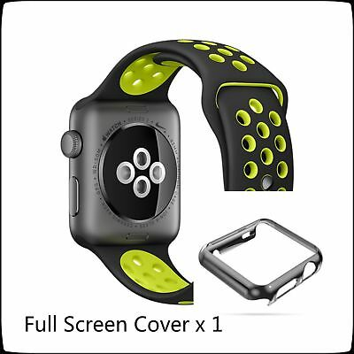 Apple Watch 42mm Black Yellow New Sports Silicone Strap Band Full Protect Case