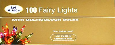 Traditional Christmas Fairy Lights 100 Multi Colour Bulbs Xmas tree decoration