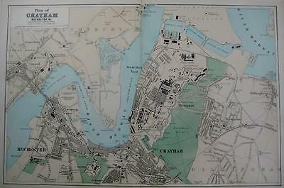 CHATHAM & ROCHESTER TOWN PLAN   LARGE SCALE MAP HAND COLOUR GEORGE BACON c1881