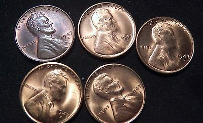 5 1947S uncirculated Lincoln cents