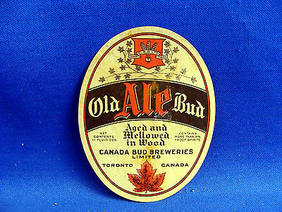 Canada Label -Old Bud Ale , Canada Bud Breweries, Toronto