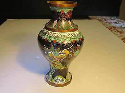 Old Colorful Oriental Dragons Decorated Cloisonne Metal Vase