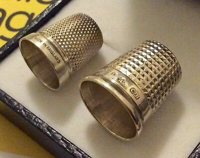 Two ( 2 ) Hallmarked Vintage Solid Silver Thimbles - Charles Horner & Another