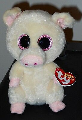 "Ty Beanie Boos - PIGGLEY the 6"" Pig ~ 2016 NEW ~ MWMT'S ~ IN HAND"