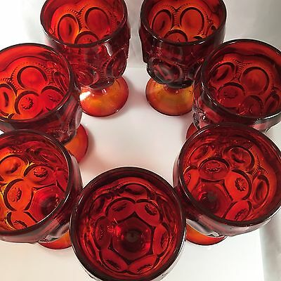 "Vintage L.E. Smith Glass Moon Stars Amberina 6"" Footed Stemware SET OF 7"