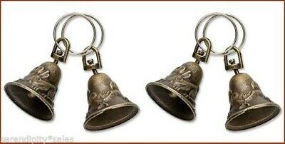 "4 BRASS BELLS ~ Antique Finish~Bird+ Rabbit Design 1.25""  High with Split Ring"