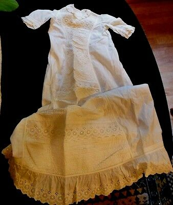 Original Antique Vintage Victorian  Baby Christening Gown Dress Male/Female