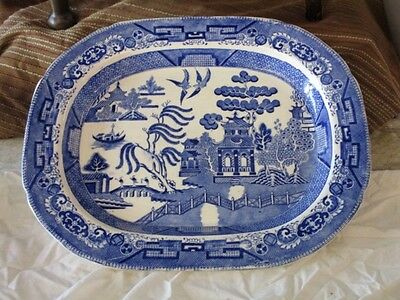 Blue & White Willow Pattern Meat Plate