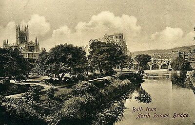 Bath, Somerset, view from North Parade Bridge. Sepia Frith #48749. 1902 image