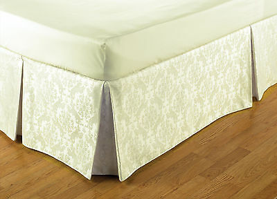 Damask Style Easy Fit Valance in Cream King Size Bed 152cm x 198cm x 41cm Drop