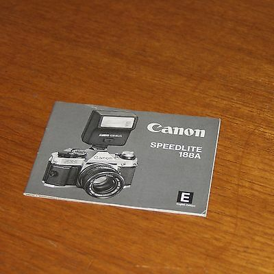 Instructions for CANON SPEEDLITE 188A FLASH UNIT printed in JAPAN 31 pages