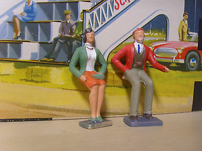 2 Scalextric seated spectator  FIGURES finely painted