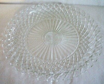 "1940s ANCHOR HOCKING ""WATERFORD CLEAR GLASS"" 14"" SANDWICH TRAY- SERVICE PLATTER"
