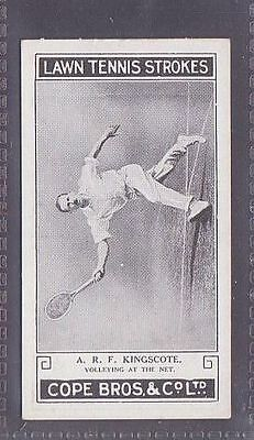 From a set of 25 Lawn Tennis Strokes issued by Cope in 1924 no.13 A.F. Kingscot