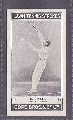 From a set of 25 Lawn Tennis Strokes issued by Cope in 1924 no.11 R. Lycett