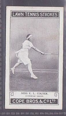 From a set of 25 Lawn Tennis Strokes issued by Cope in 1924 #21 Miss E.L. Colyer