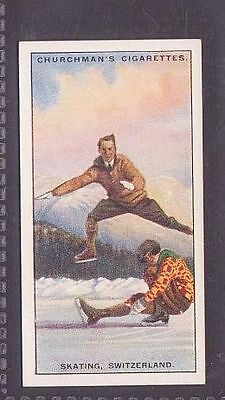 """From 25 """"Sports & Games in Many Lands"""" by Churchman 1929 no.23 Skating Switz"""