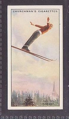 """From 25 """"Sports & Games in Many Lands"""" by Churchman 1929 no.17 Ski-ing Norway"""