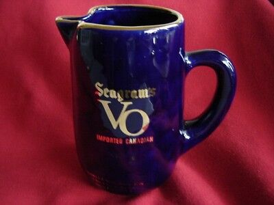 Handsome McCoy ? Pottery Cobalt Seagrams VO Whiskey Barware Pitcher
