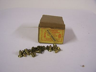 "#6 x 3/8"" Flat Head Brass Wood Screws Solid Brass Slotted Made in USA Qty. 125"