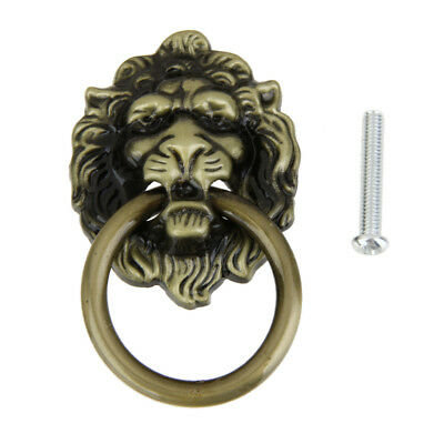 Retro Lion Head Furniture Door Cabinet Dresser Drawer Pull Handle Knob Ring