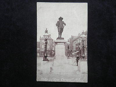 "Antique ""yes Or No"" Series Postcard Statue Of Oliver Cromwell, St. Ives"