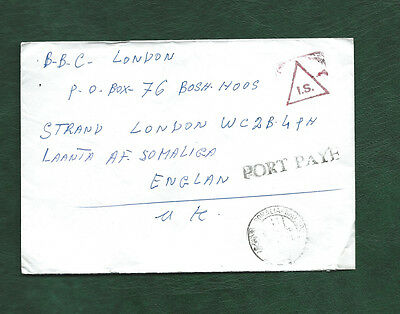 Unstamped cover from Mogadishu to BBC in London PORT PAYE