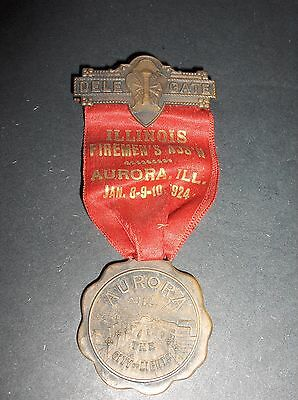 1924 Illinois Firemen's Ass'n Aurora, Ill. Delegate Convention Medal Pin