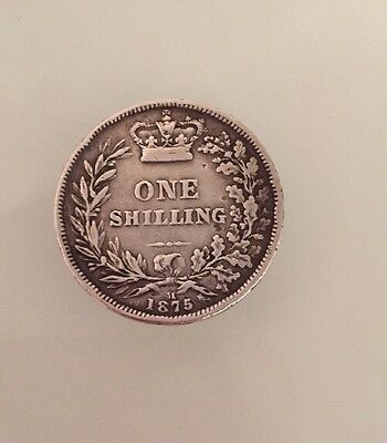One Shilling Dated 1875 * Victoria Young Head