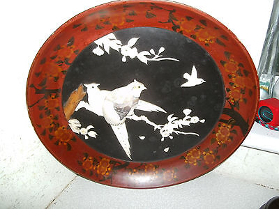 Antique  / Vintage  Lacquered Wooden Wall Plaque   -  Japanese Shibayama - Birds