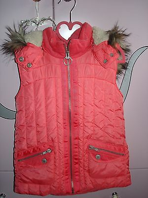 River Island Fur Hooded Gilet Coral Size 9 Years